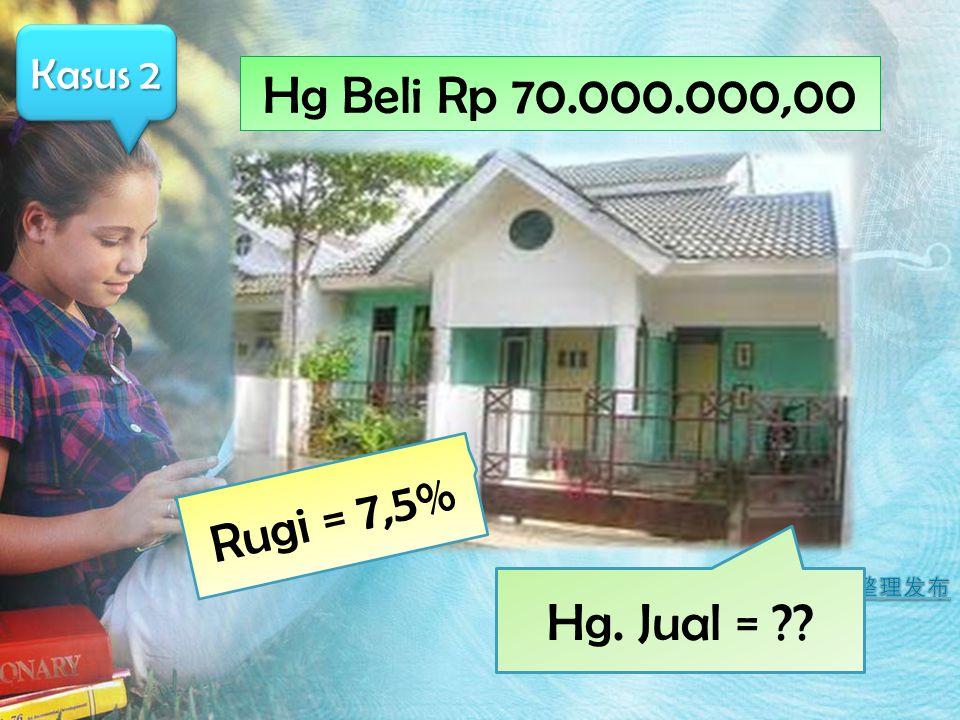 Kasus 2 Hg Beli Rp 70.000.000,00 Rugi = 7,5% Hg. Jual =