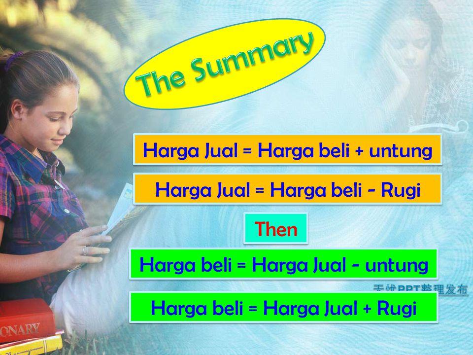 The Summary Harga Jual = Harga beli + untung
