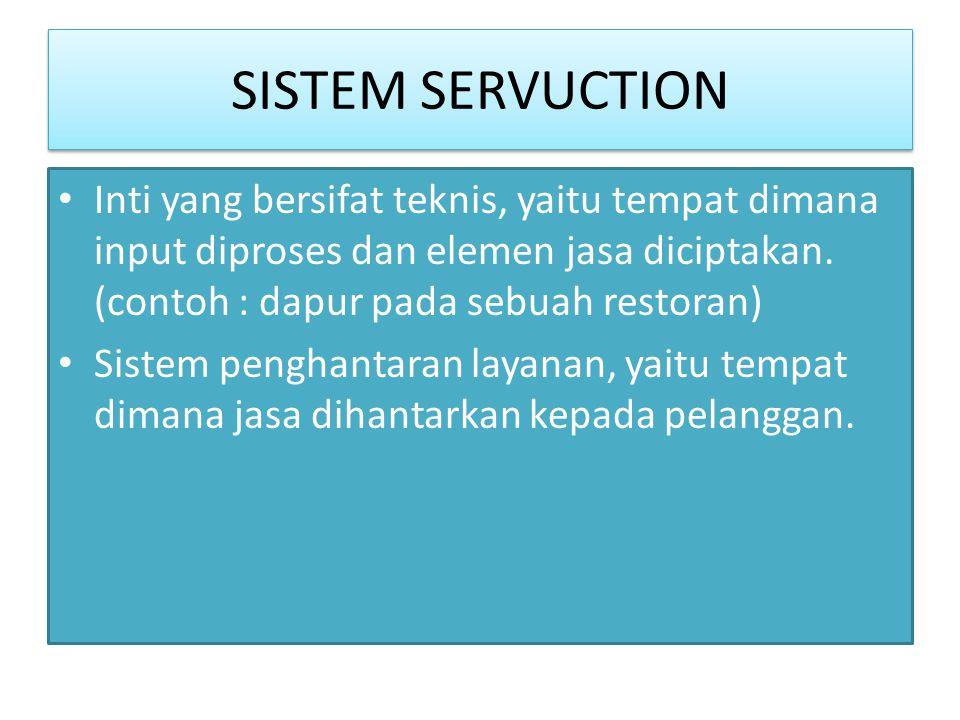 SISTEM SERVUCTION Inti yang bersifat teknis, yaitu tempat dimana input diproses dan elemen jasa diciptakan. (contoh : dapur pada sebuah restoran)