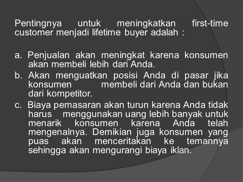 Pentingnya untuk meningkatkan first-time customer menjadi lifetime buyer adalah : a.