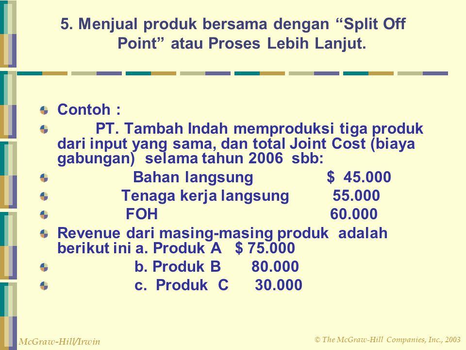 5. Menjual produk bersama dengan Split Off Point atau Proses Lebih Lanjut.
