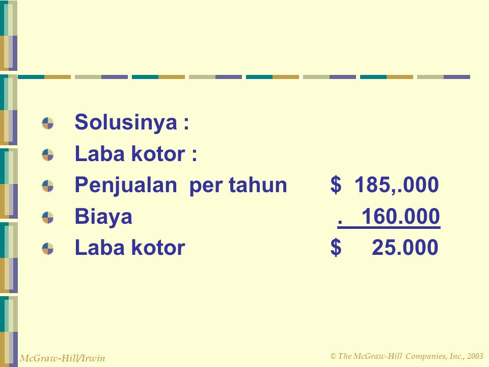 Solusinya : Laba kotor : Penjualan per tahun $ 185,.000. Biaya . 160.000.