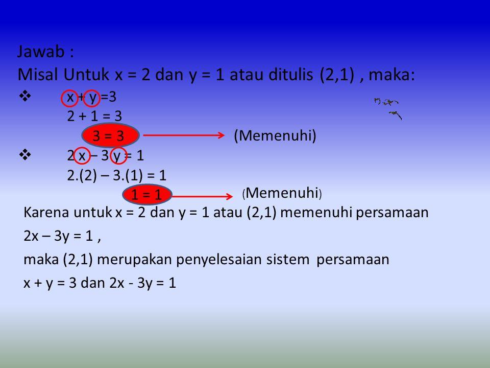 Misal Untuk x = 2 dan y = 1 atau ditulis (2,1) , maka: