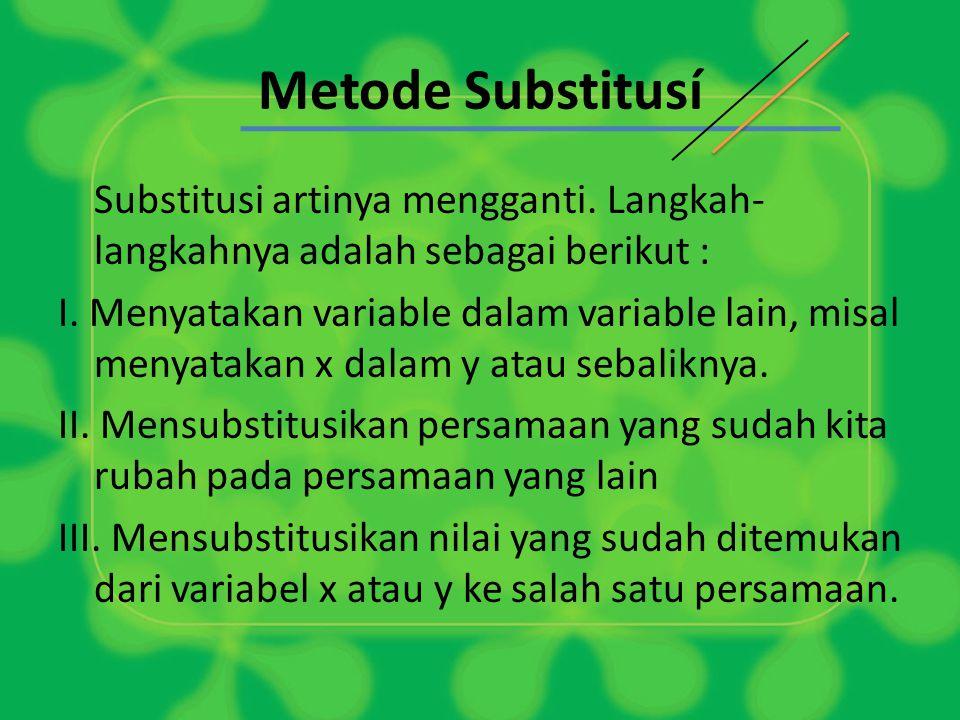 Metode Substitusí