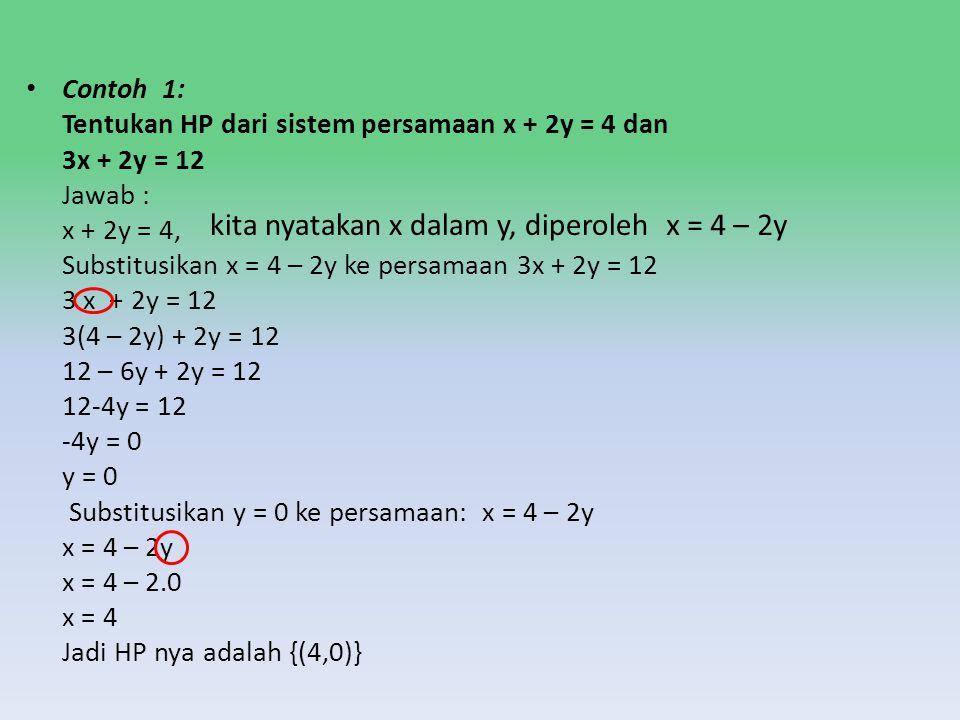 kita nyatakan x dalam y, diperoleh x = 4 – 2y