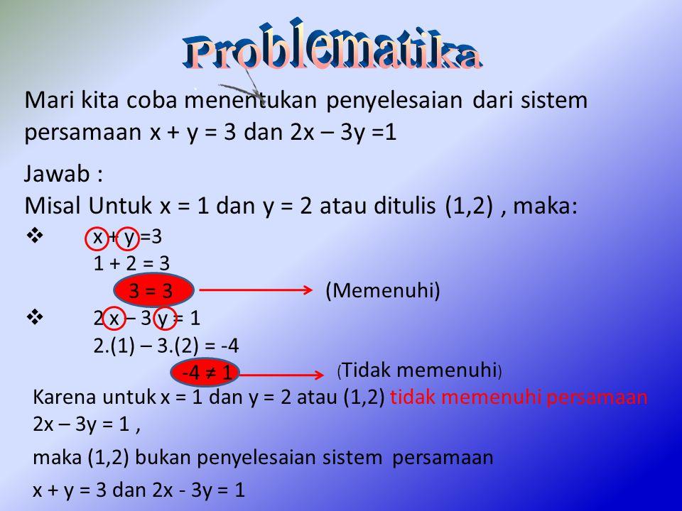Misal Untuk x = 1 dan y = 2 atau ditulis (1,2) , maka: