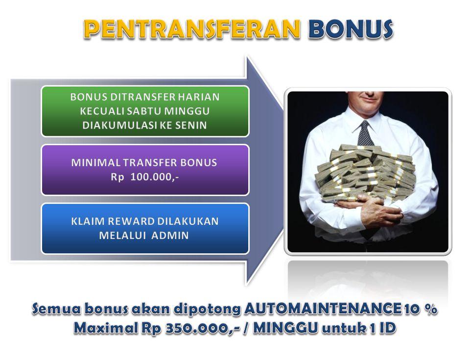 PENTRANSFERAN BONUS Semua bonus akan dipotong AUTOMAINTENANCE 10 %