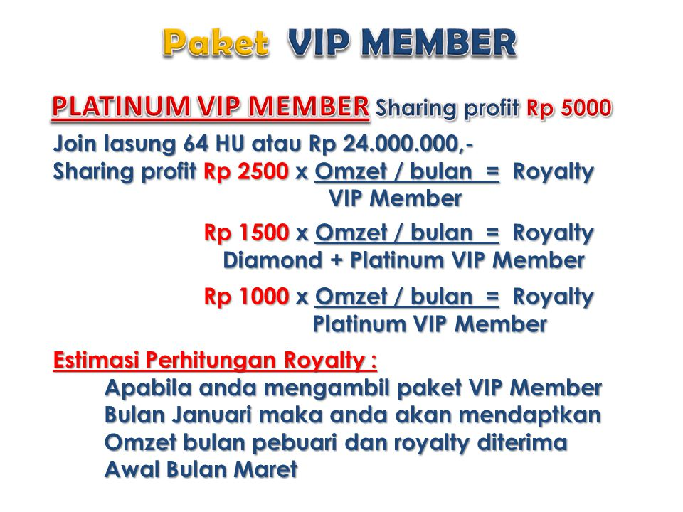 PLATINUM VIP MEMBER Sharing profit Rp 5000
