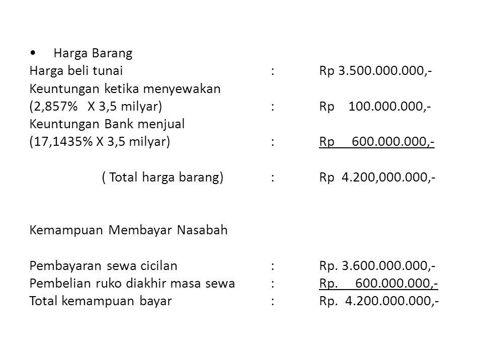 • Harga Barang Harga beli tunai : Rp 3. 500. 000