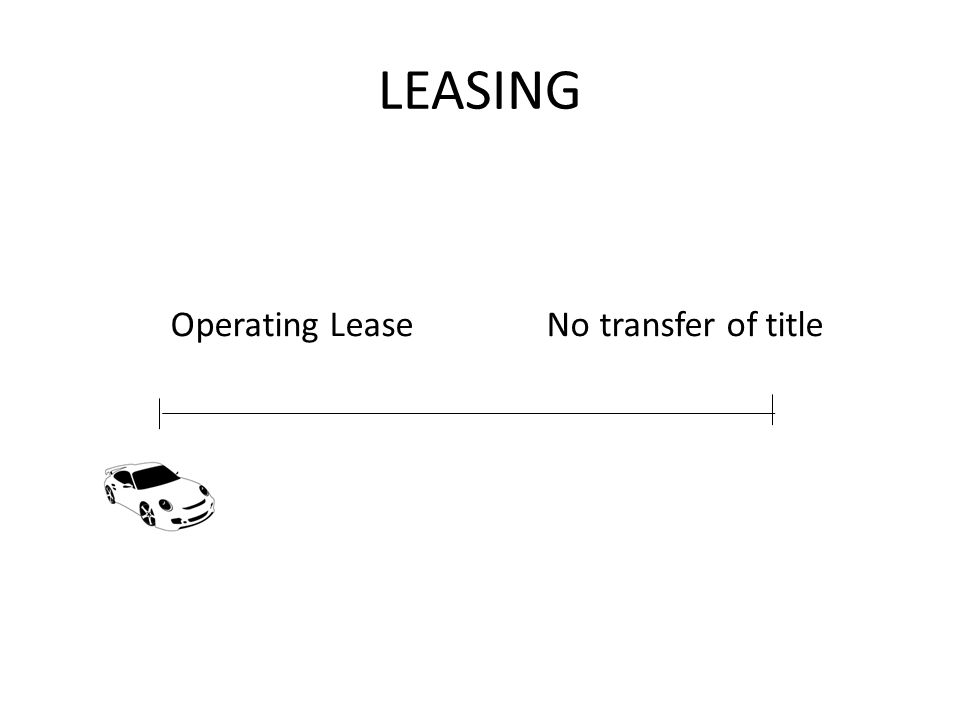 LEASING Operating Lease No transfer of title
