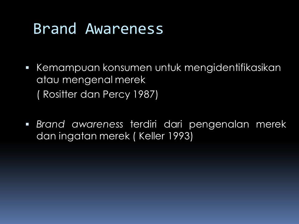 Brand Awareness Kemampuan konsumen untuk mengidentifikasikan atau mengenal merek. ( Rositter dan Percy 1987)