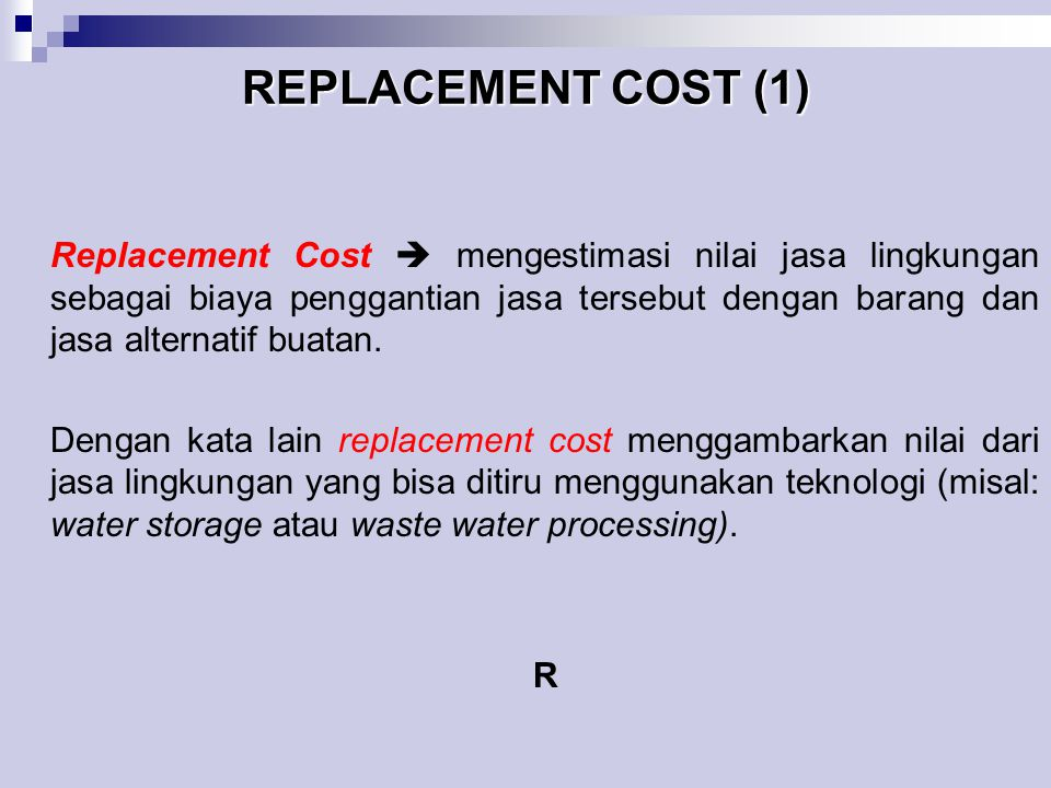 REPLACEMENT COST (1)