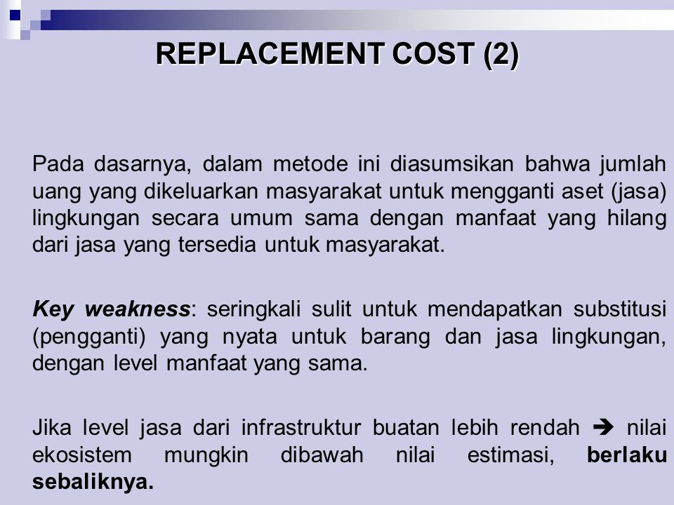 REPLACEMENT COST (2)