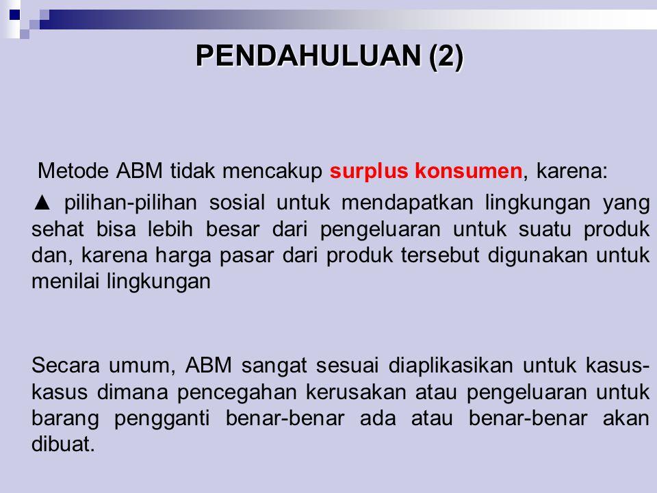 PENDAHULUAN (2) Metode ABM tidak mencakup surplus konsumen, karena: