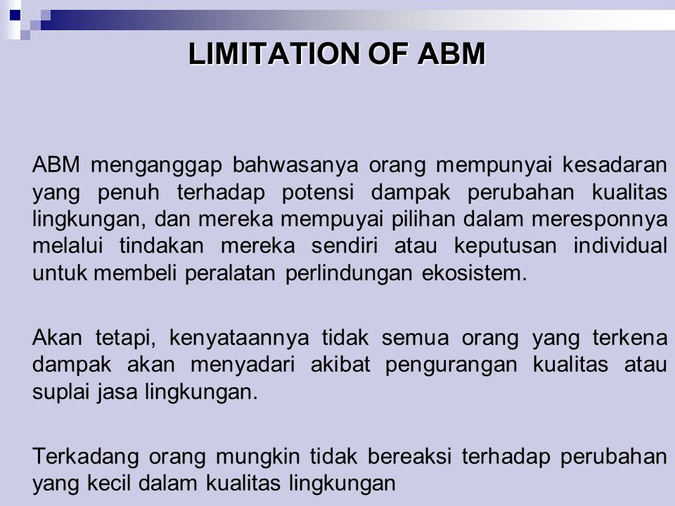 LIMITATION OF ABM