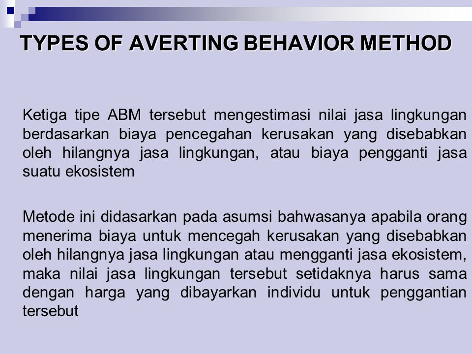 TYPES OF AVERTING BEHAVIOR METHOD