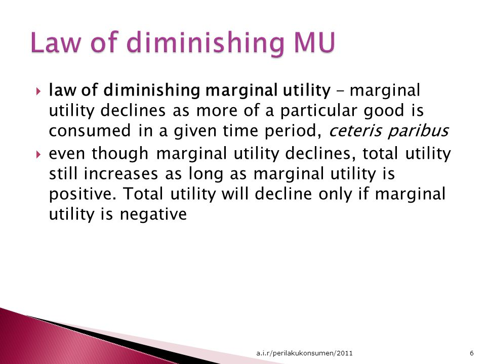 Law of diminishing MU