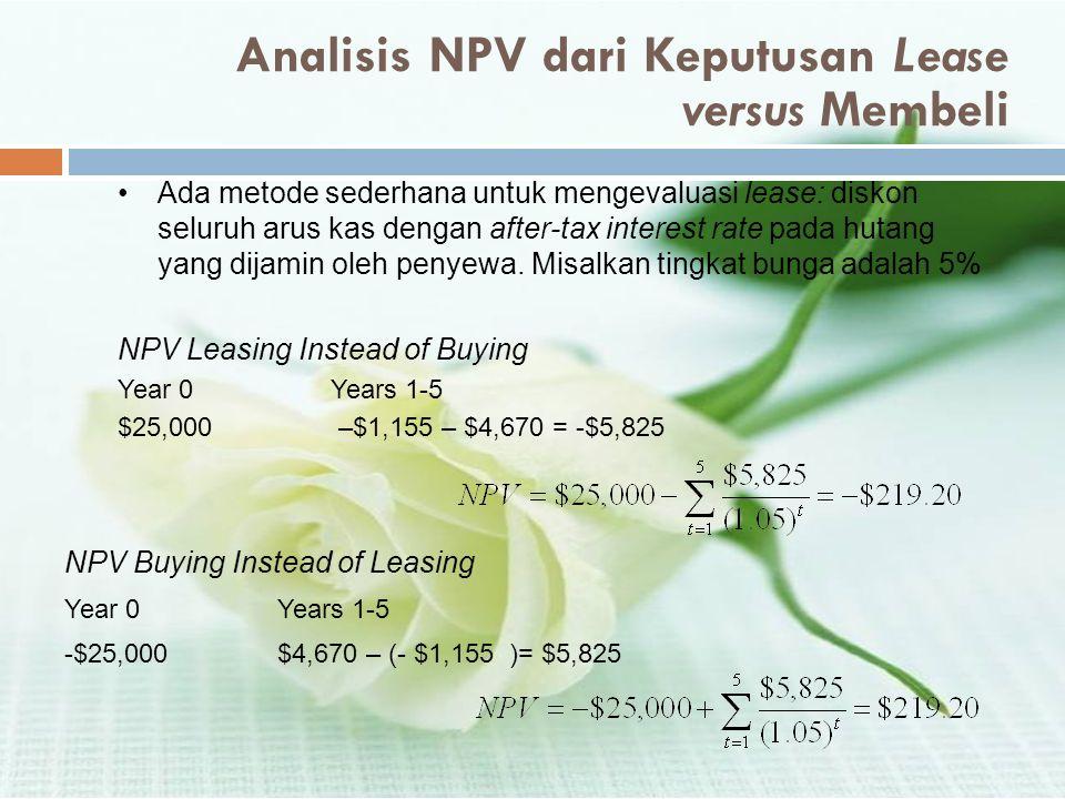 Analisis NPV dari Keputusan Lease versus Membeli