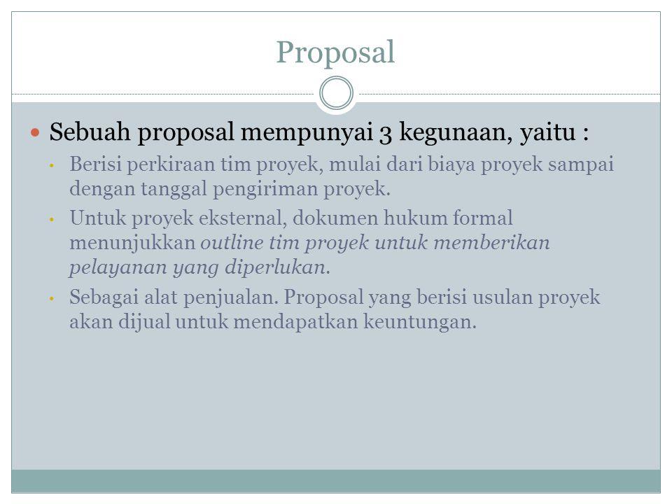 Proposal Sebuah proposal mempunyai 3 kegunaan, yaitu :