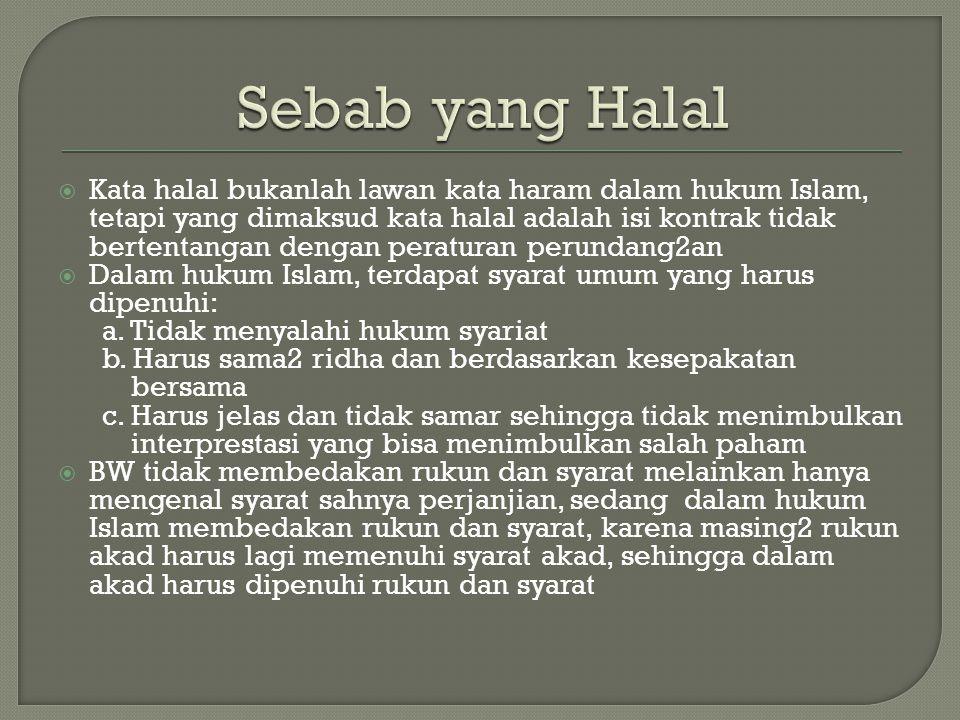 Sebab yang Halal