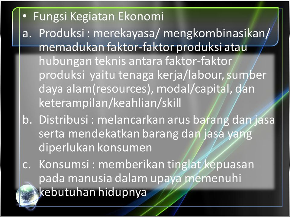 Fungsi Kegiatan Ekonomi
