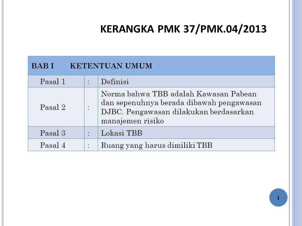 KERANGKA PMK 37/PMK.04/2013 BAB I KETENTUAN UMUM Pasal 1 : Definisi