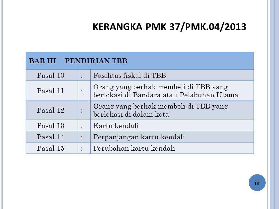 KERANGKA PMK 37/PMK.04/2013 BAB III PENDIRIAN TBB Pasal 10 :