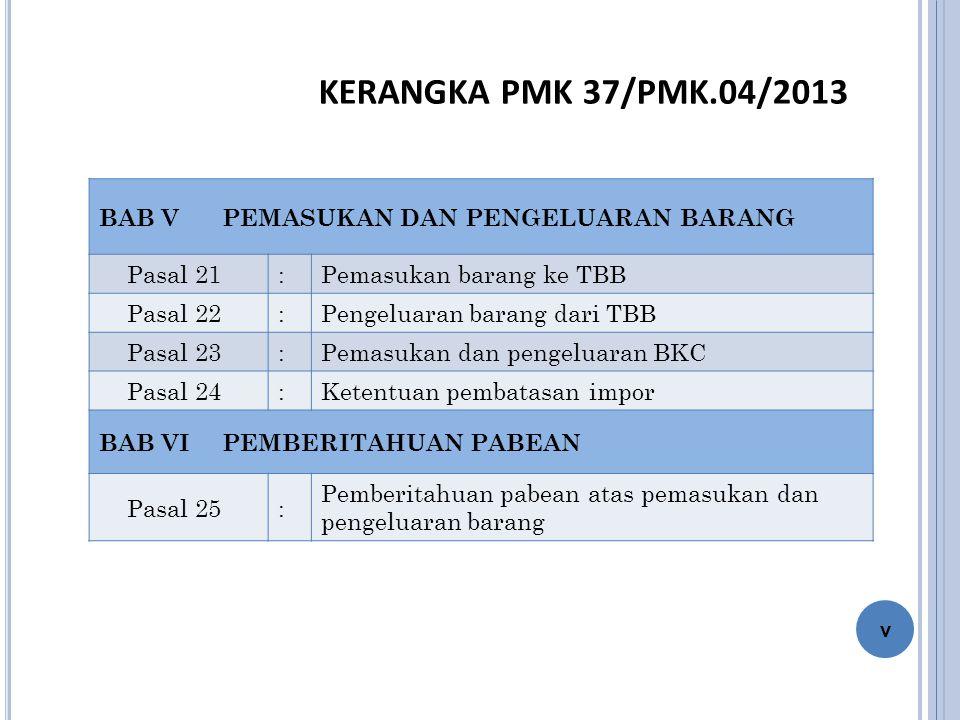 KERANGKA PMK 37/PMK.04/2013 BAB V PEMASUKAN DAN PENGELUARAN BARANG