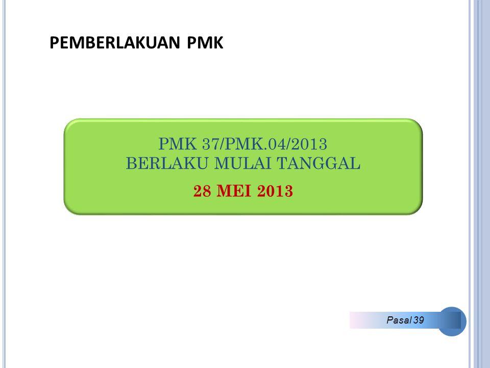 PEMBERLAKUAN PMK PMK 37/PMK.04/2013 BERLAKU MULAI TANGGAL 28 MEI 2013