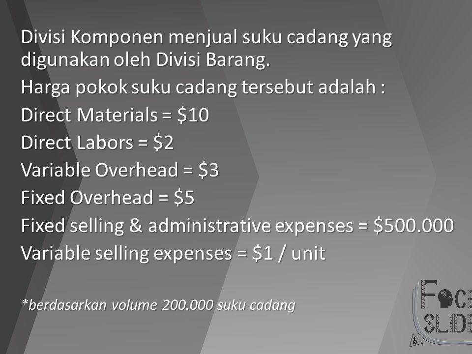 Divisi Komponen menjual suku cadang yang digunakan oleh Divisi Barang.