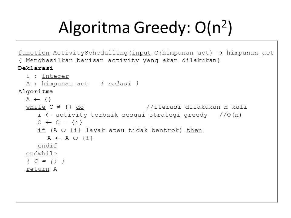 Algoritma Greedy: O(n2)