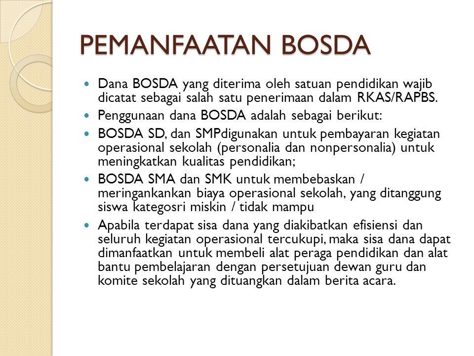 PEMANFAATAN BOSDA Dana BOSDA yang diterima oleh satuan pendidikan wajib dicatat sebagai salah satu penerimaan dalam RKAS/RAPBS.