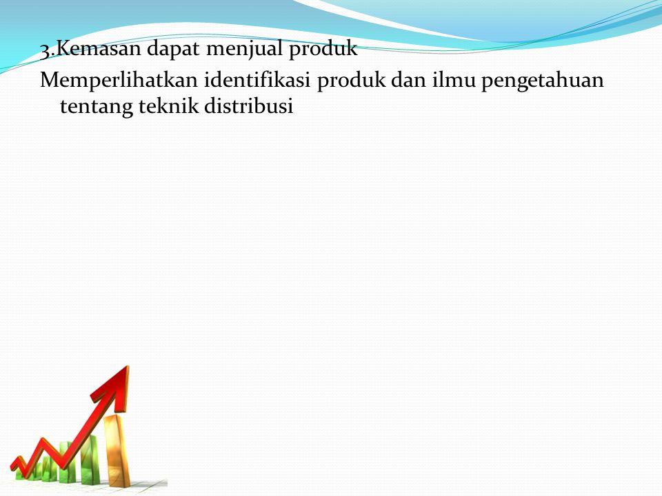 3.Kemasan dapat menjual produk Memperlihatkan identifikasi produk dan ilmu pengetahuan tentang teknik distribusi