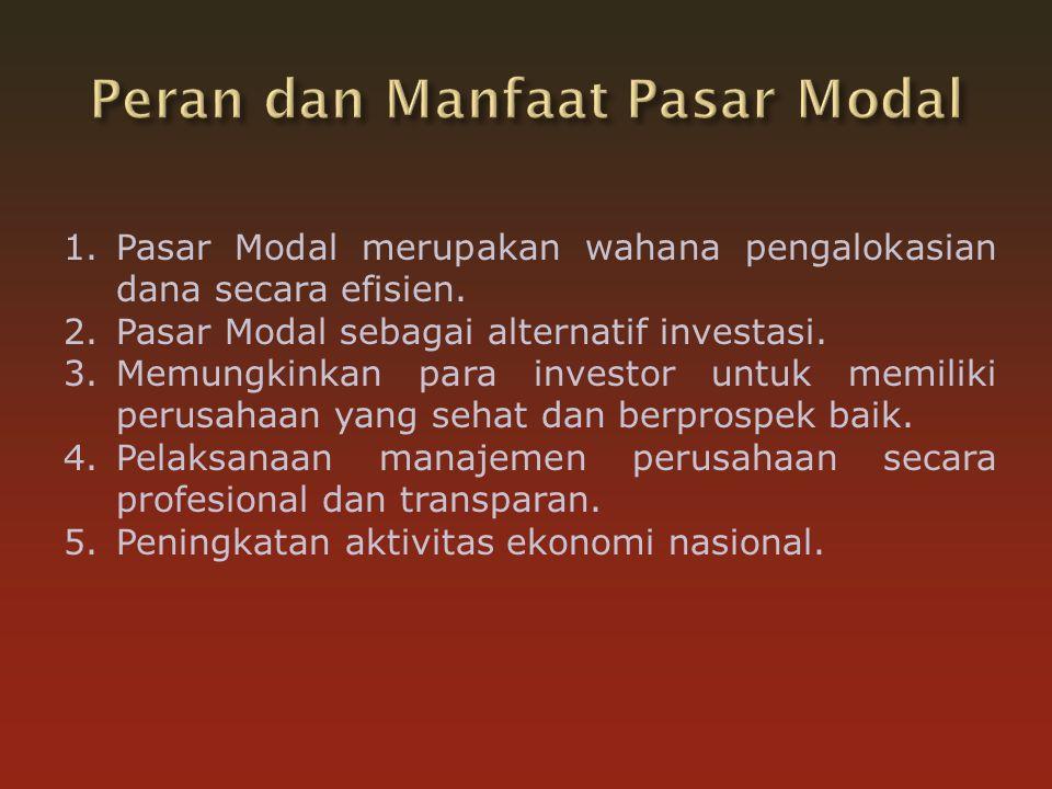 Peran dan Manfaat Pasar Modal