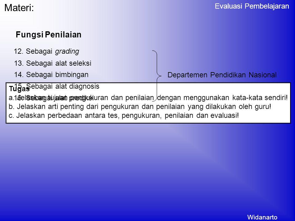 Materi: Fungsi Penilaian 12. Sebagai grading 13. Sebagai alat seleksi
