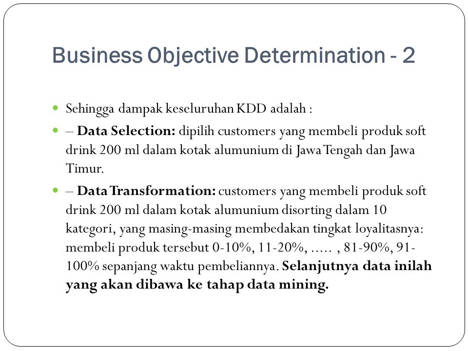 Business Objective Determination - 2