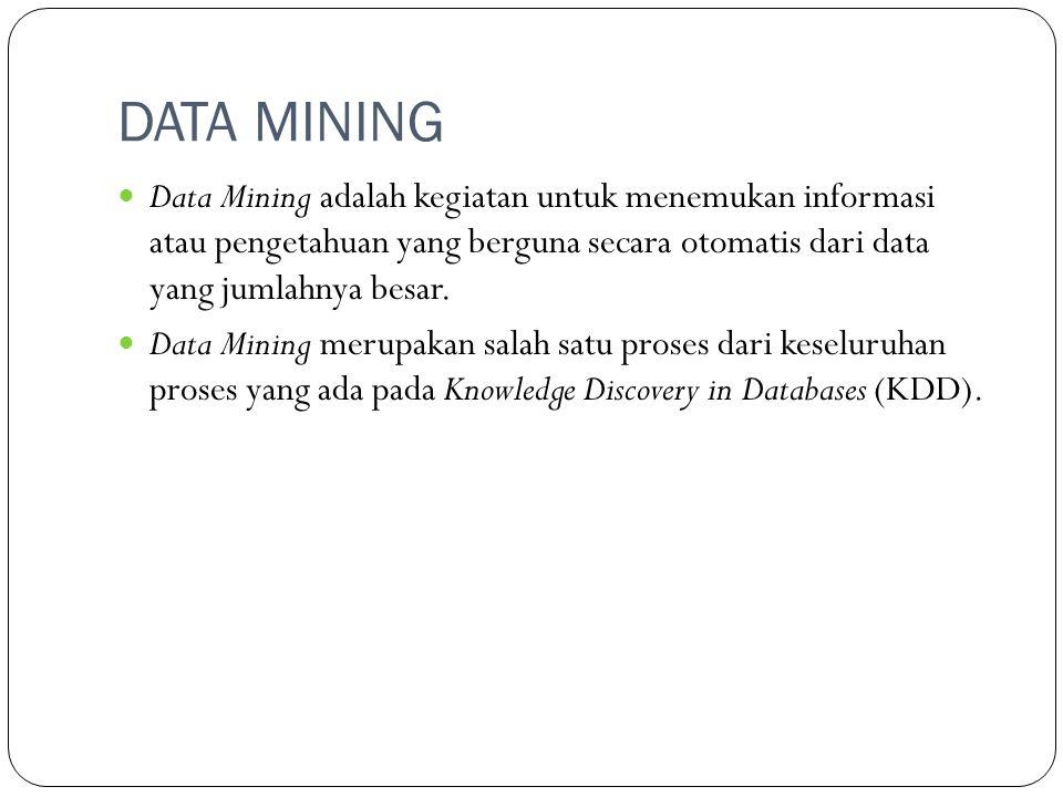 DATA MINING Data Mining adalah kegiatan untuk menemukan informasi atau pengetahuan yang berguna secara otomatis dari data yang jumlahnya besar.
