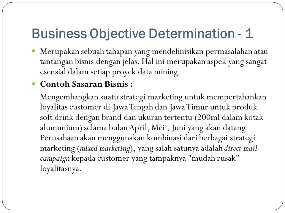 Business Objective Determination - 1