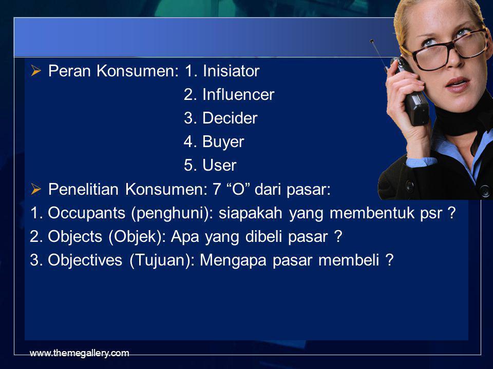 Peran Konsumen: 1. Inisiator 2. Influencer 3. Decider 4. Buyer 5. User