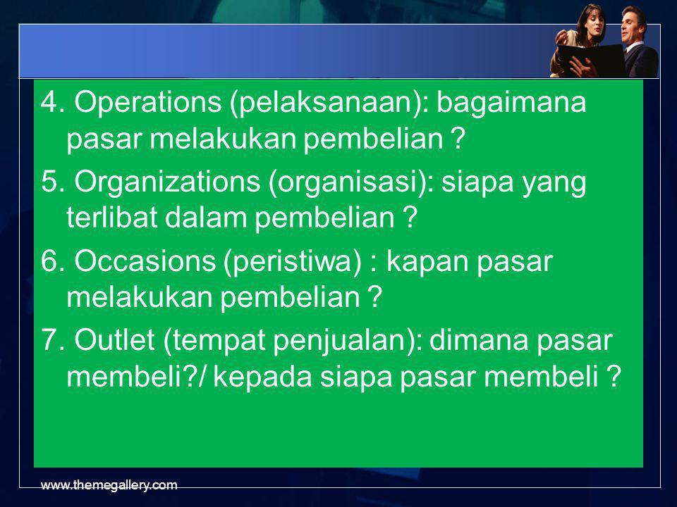 4. Operations (pelaksanaan): bagaimana pasar melakukan pembelian. 5