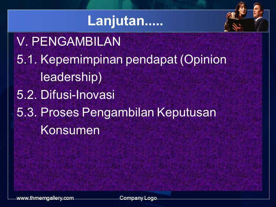 Lanjutan..... V. PENGAMBILAN 5.1. Kepemimpinan pendapat (Opinion leadership) 5.2. Difusi-Inovasi 5.3. Proses Pengambilan Keputusan Konsumen