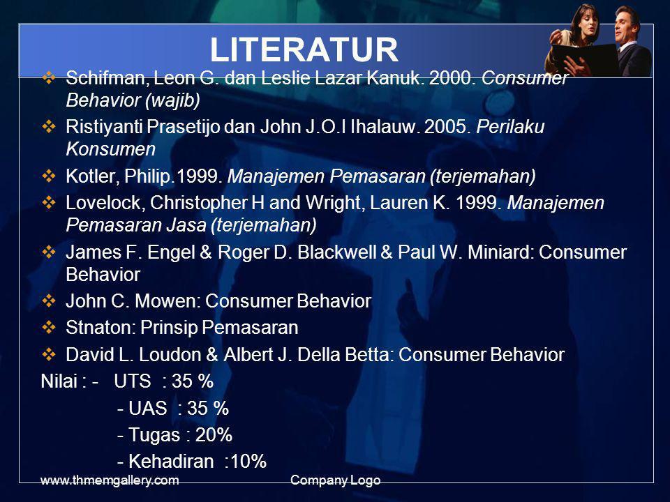 LITERATUR Schifman, Leon G. dan Leslie Lazar Kanuk. 2000. Consumer Behavior (wajib)