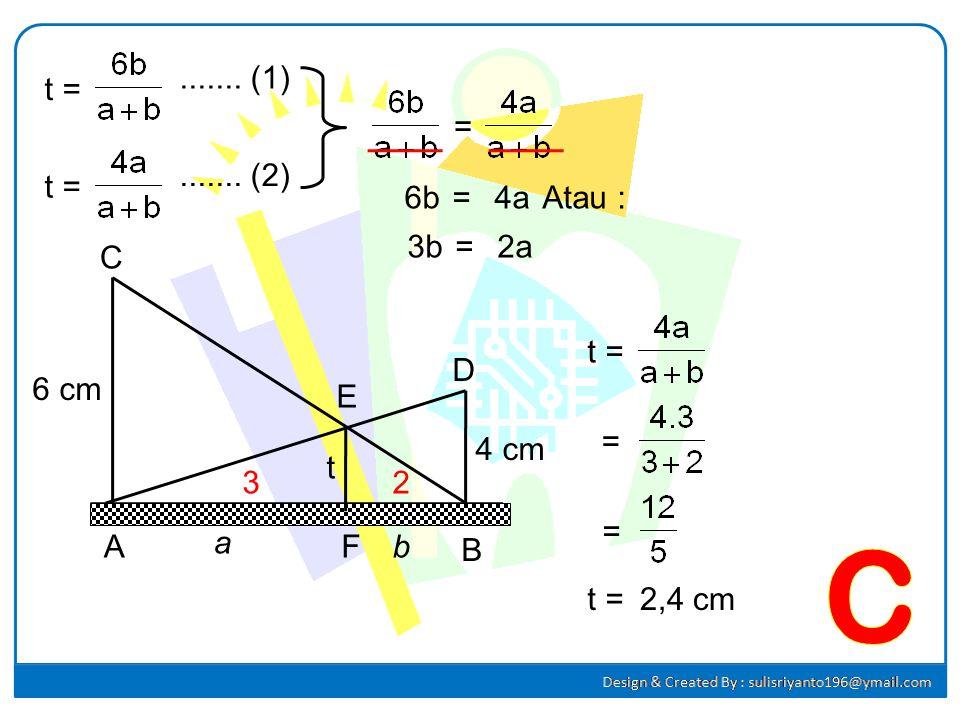 C ....... (1) t = = ....... (2) t = 6b = 4a Atau : 3b = 2a 6 cm 4 cm t
