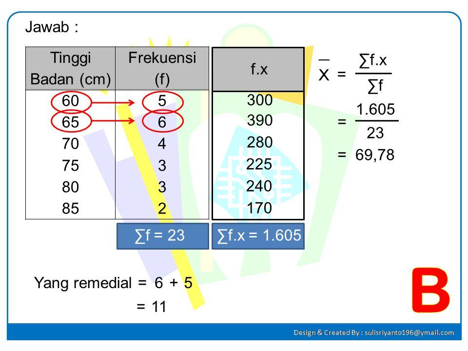 B Jawab : Tinggi Badan (cm) Frekuensi (f) 60 65 70 75 80 85 5 6 4 3 2