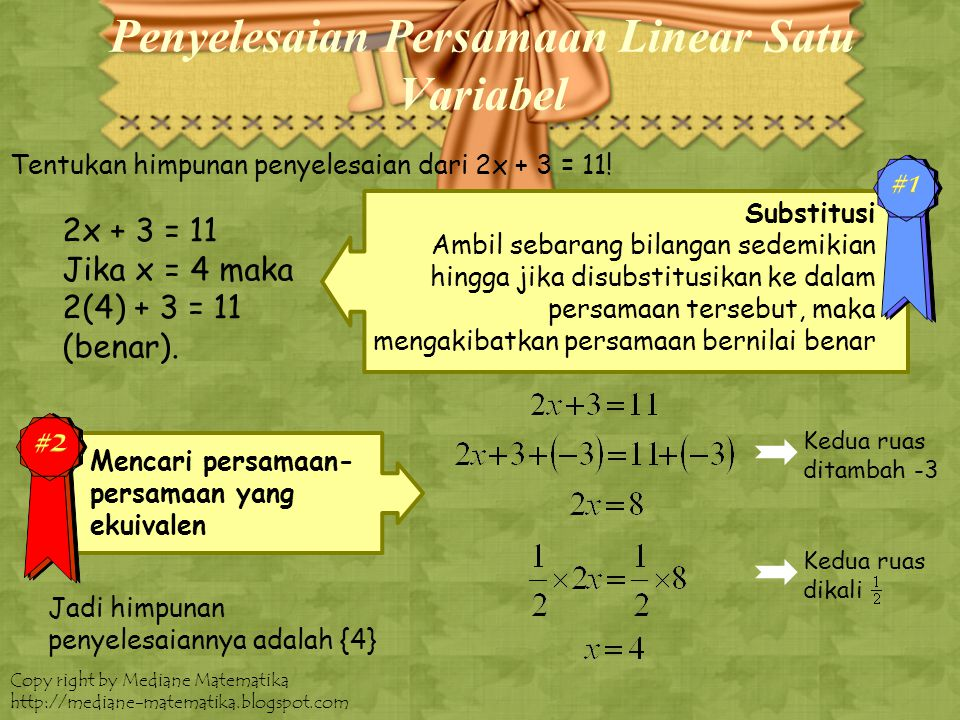 Penyelesaian Persamaan Linear Satu Variabel