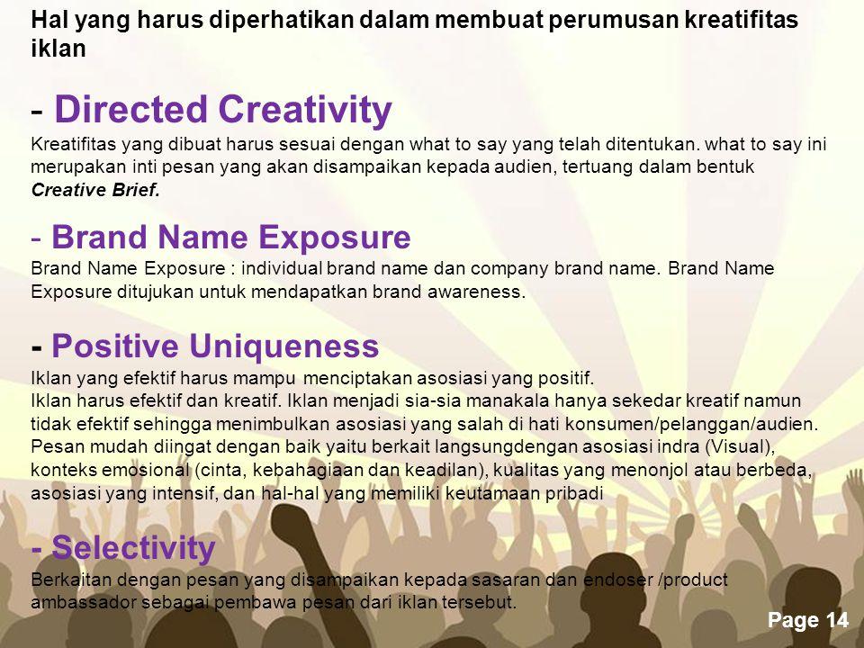 Hal yang harus diperhatikan dalam membuat perumusan kreatifitas iklan