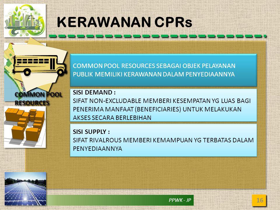 KERAWANAN CPRs COMMON POOL RESOURCES SEBAGAI OBJEK PELAYANAN PUBLIK MEMILIKI KERAWANAN DALAM PENYEDIAANNYA.