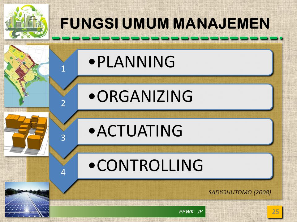 PLANNING ORGANIZING ACTUATING CONTROLLING FUNGSI UMUM MANAJEMEN 1 2 3