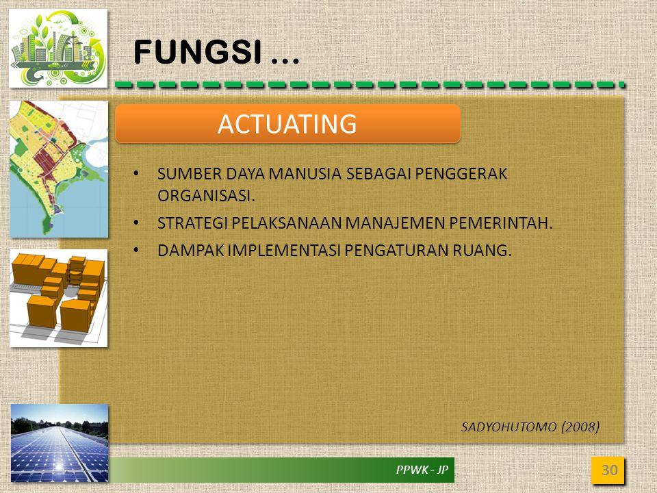 FUNGSI … ACTUATING SUMBER DAYA MANUSIA SEBAGAI PENGGERAK ORGANISASI.