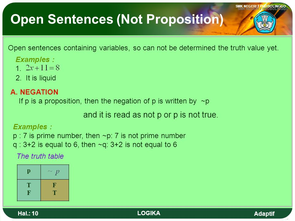 Open Sentences (Not Proposition)